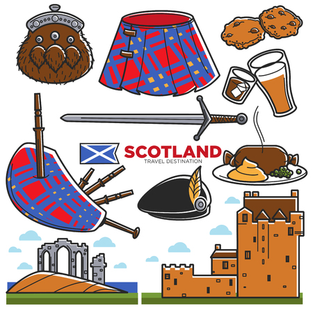 Scotland UK travel tourism landmarks and famous tourist attractions vector icons