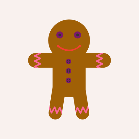 Gingerbread man with face and raisin buttons, Vector illustration.