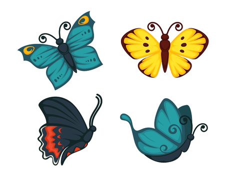 antennas: Vector illustration of vivid butterflies with different colored ornamental wings isolated on white.