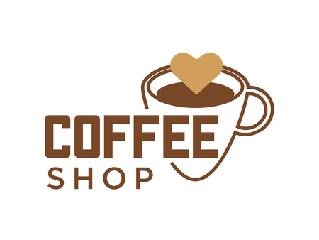 Coffee cup and hot steam logo template for coffeehouse cafe or cafeteria sign.