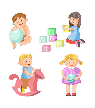 swinging: Children playing toys and games. Young boy or toddller play balloon or swinging on horse, child girls with alphabet blocks and balloon. Vector people childhood isolated flat icons set