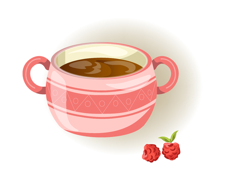 Pink cup with small pattern, two handles and sweet raspberry isolated cartoon vector illustration on white background. Hot healthy beverage with natural forest berries in convenient ceramic mug.
