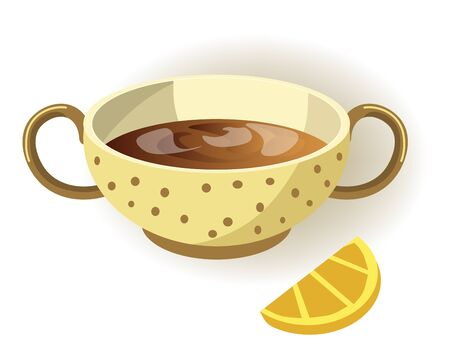 Cup of lemon tea with polka-dot pattern and two handles isolated cartoon flat vector illustration on white background.