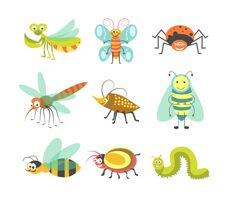 面白い漫画の昆虫とバグ ベクトル分離笑顔文字アイコン