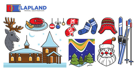 Lapland travel destination promotional poster. Polar bears, Santa Claus face, knit winter clothes, natural landscapes, professional skis and wooden house covered with snow vector illustrations. Ilustracje wektorowe