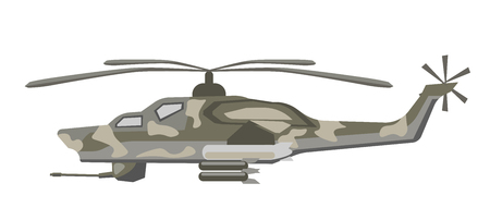 Military helicopter of camouflage color isolated cartoon flat vector illustration on white background. Armored heavy solid aircraft with big powerful propeller on roof and firearms weapon at bottom.