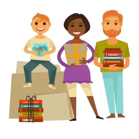 Family with gifts for housewarming party isolated illustration Illustration