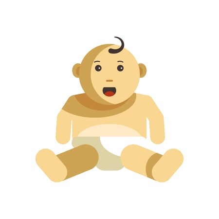 Cute kid with curled forelock little child in diapers vector illustration. Illustration