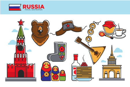 traditional culture: Russia travel destination promotional poster with cultural symbols