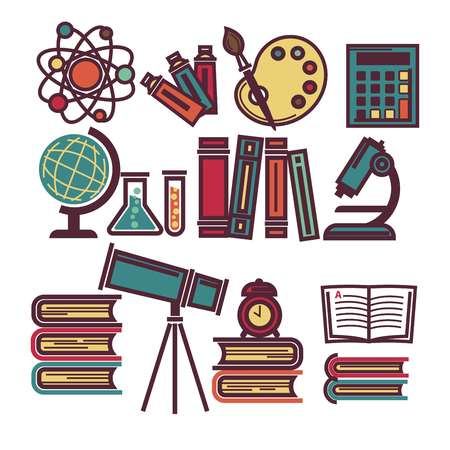 Supplies for education and scientific researches illustrations set