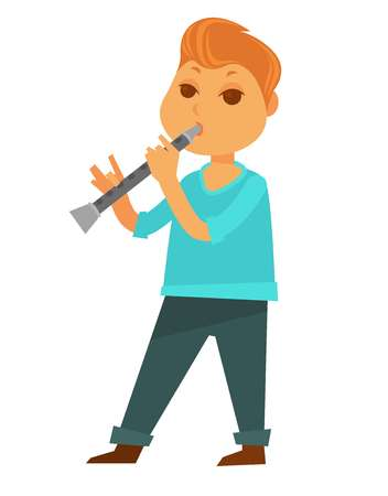 Little redhead boy plays flute isolated cartoon illustration