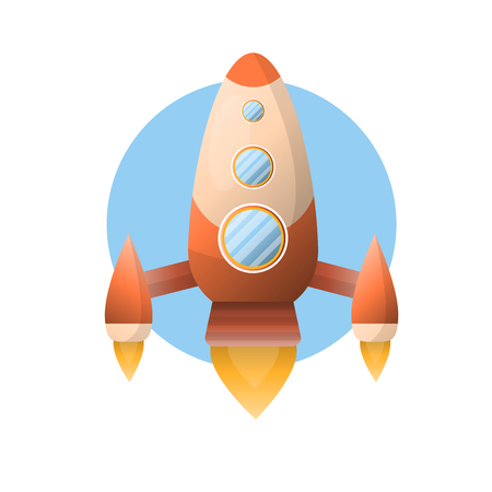 Big shiny space rocket that flies up isolated illustration
