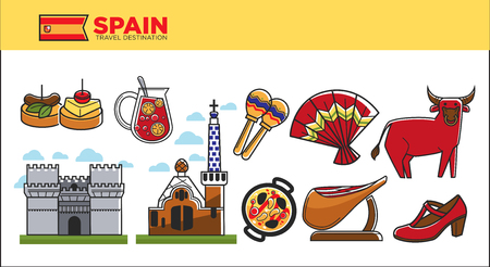 humbug: Spain travel destination promotional poster with country symbols Illustration