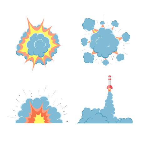 nuclear bomb: Cartoon vector bomb explosion with smoke. Illustration