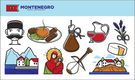 humbug: Montenegro travel destination promotional poster with country symbols Illustration