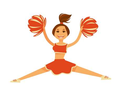 Cheerleader in orange uniform with pompons jumps in split
