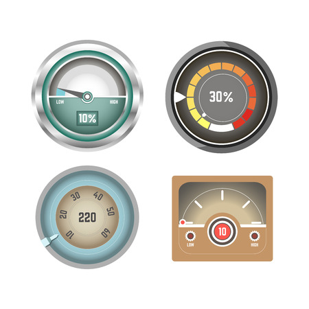 bar: Convenient speedometers for Internet traffic isolated illustrations set