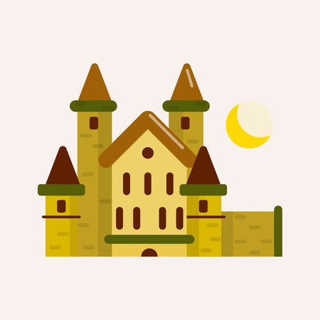 Ancient brick castle with cone roofs, tall solid towers and yellow crescent above isolated cartoon flat vector illustration on white background. Illustration