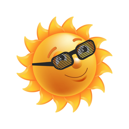 Shiny sun in black striped glasses with kind facial expression and short beams looks up isolated vector illustration on white background. Illustration