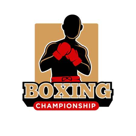 Boxing championship or tournament logo template of boxer man in red gloves. Vector isolated red icon or sign for box school or sport team club Illustration