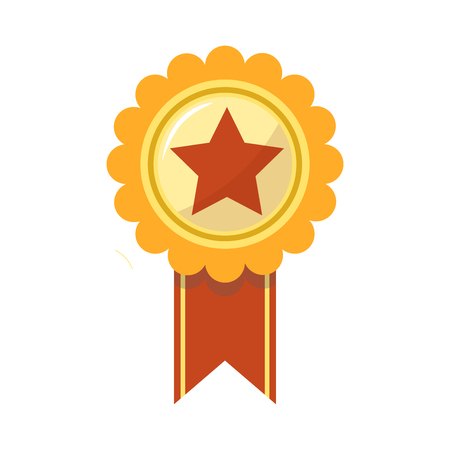 Ribbon award golden rosette with red star. First place gold medal badge prize for championship or sport tournament victory. Vector flat isolated icon template