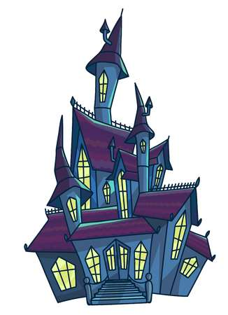 Old scary haunted house with cone roofs isolated illustration