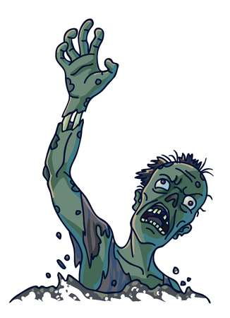 Zombie that climbs out of ground isolated illustration 向量圖像