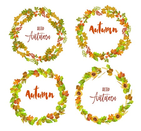 dogrose: Hello autumn emblems with wreaths made of colorful leaves