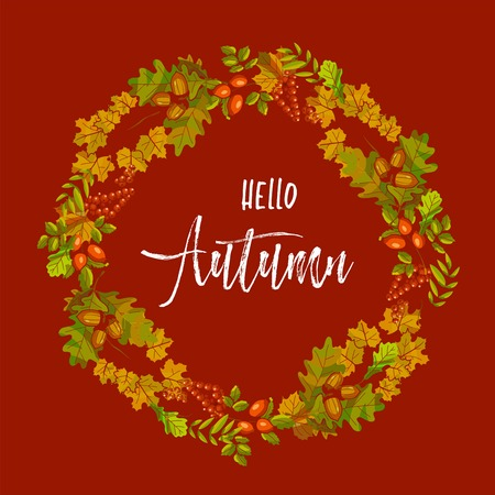Hello autumn banner with dry leaves in big wreath