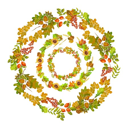 Wreaths of autumn leaves put one inside another Illustration