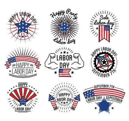 traditional culture: Happy labor day on September 7th in USA Illustration