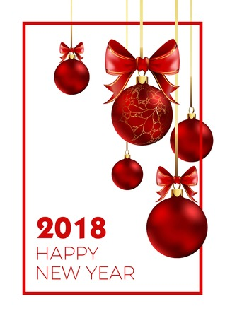 Happy New Year 2018 poster with congratulation sign and shiny balls for Christmas tree with bows that hang on golden rope.