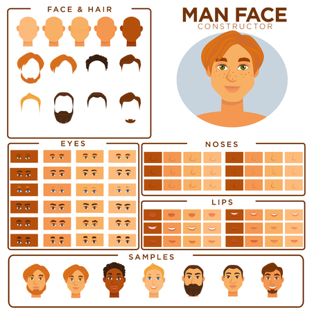 Man face avatar constructor templates of male skin, haircut and mustache beard types, eyes or hair color, nose and lips elements match samples. Vector isolated man profile icons set