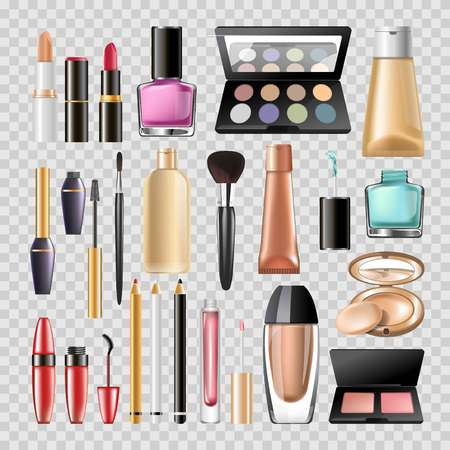 Makeup cosmetics or woman beauty make-up accessory tools of mascara eyeliner, nail polish to tonal BB powder and moisturizer cream, lipstick and eye mirror.