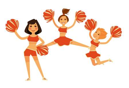 Cheerleaders girls performing with cheerleading garment accessory vector flat isolated icons Illustration
