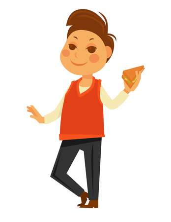 school: Boy eating school lunch sandwich vector flat isolated icon Illustration