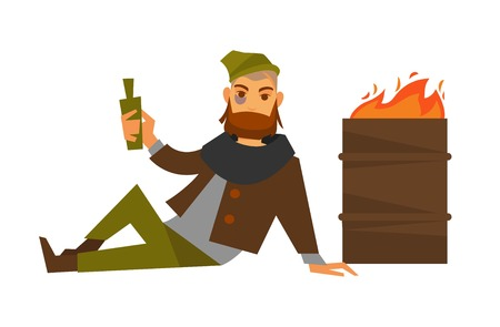 Homeless man beggar or bum vagrant at fire barrel vector isolated icon Illustration