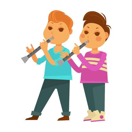 Children in kindergarten or school. Boys playing music on pipe flute musical instrument. Vector flat icons set