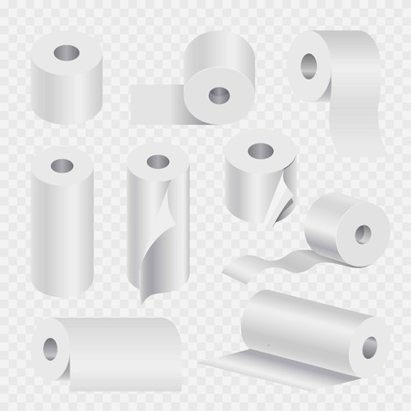 Toilet paper rolls set or kitchen paper towels 3D mock up models. Vector isolated realistic icons set on transparent background