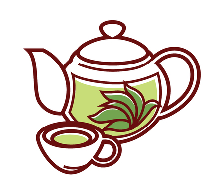 Teapot with herbal tea and cup. Ceramic or glass transparent tea pot and herb brewed for healthy vegetarian cuisine. Vector isolated icon