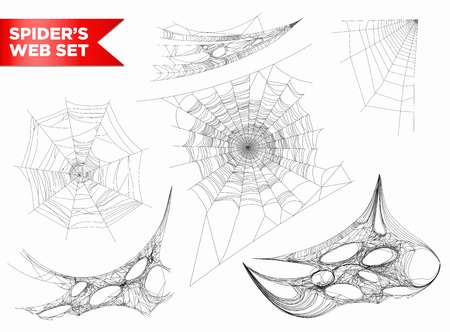 Spiderweb or spider web cobweb 3D shapes vecto isolated icons Stock Illustratie