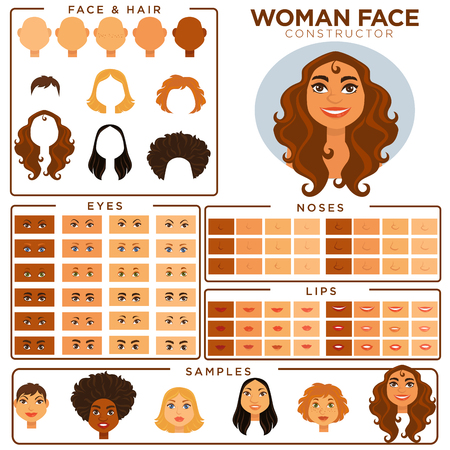 Woman face constructor skin, haircut nose and eyes templates vector set