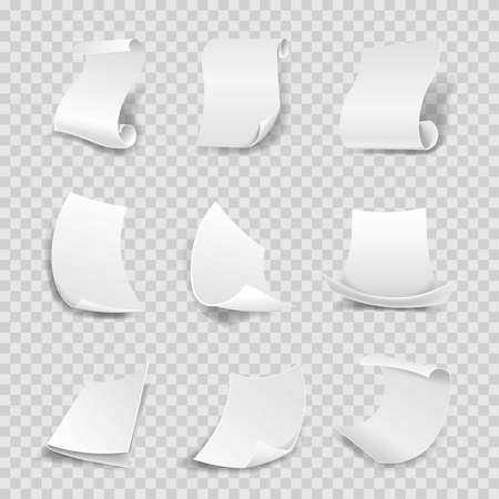 info: White paper sheets 3D with corner flip and rolled sides. Manuscript roll or parchment with curved side, flipped paper page corner with shadow. Vector isolated icons set on transparent background