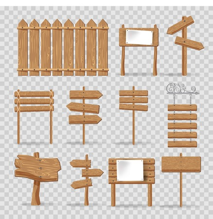 Wooden signs and advertising wood board signage templates. Hanging direction arrows and wood boards with blank space for messages or posters in retro or cartoon style. Vector isolated icons set