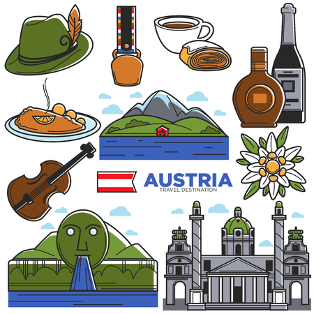 Austria tourism travel landmarks and famous sightseeing vector icons set Vetores
