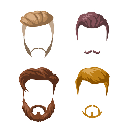 Beards, mustaches and hairstyles set.