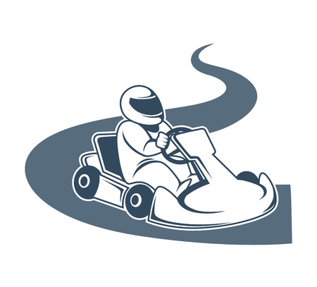Professional kart racer sits in vehicle and drives down road Illustration