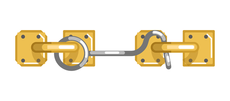 construction: Old-fashioned simple metal lock with hook and loop Illustration