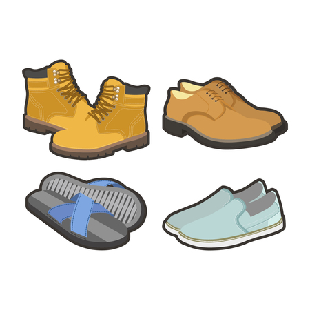 Mens shoes for all seasons isolated illustrations set Illustration