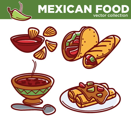 enchilada: Mexican food vector collection with spicy dishes set